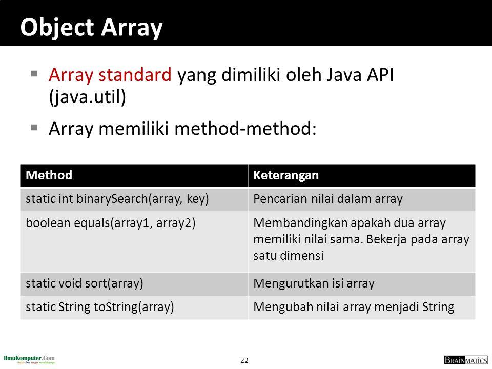 Object Array Array standard yang dimiliki oleh Java API (java.util)