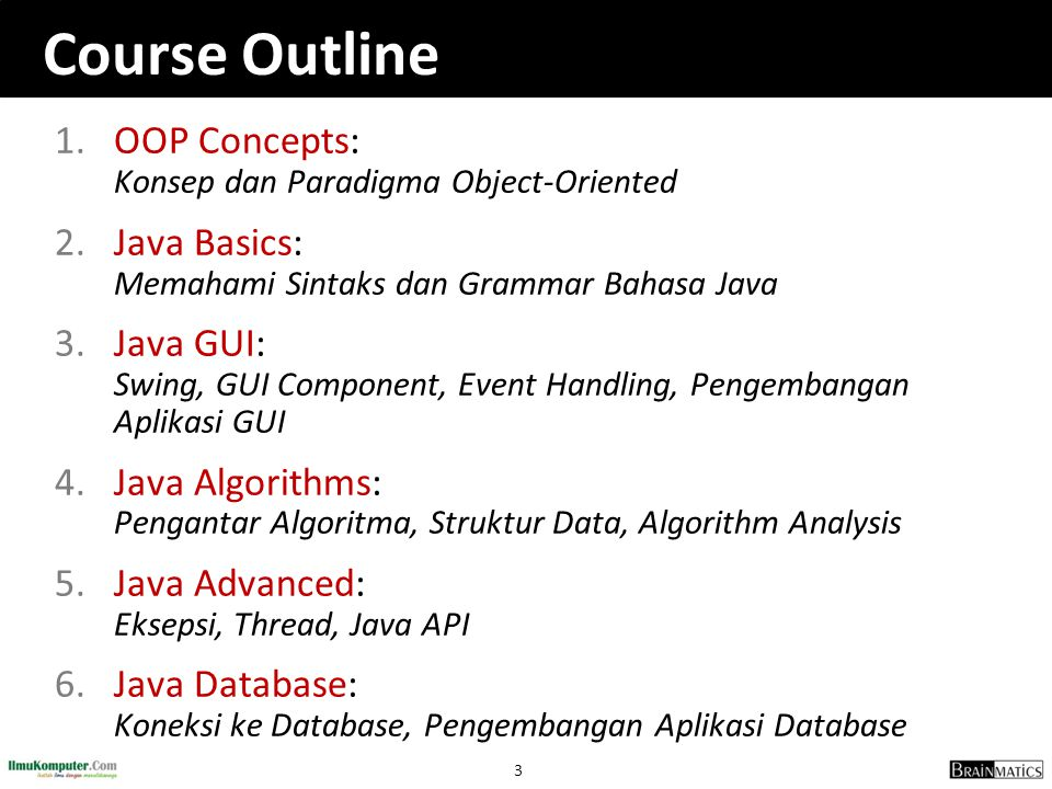 Course Outline OOP Concepts: Konsep dan Paradigma Object-Oriented