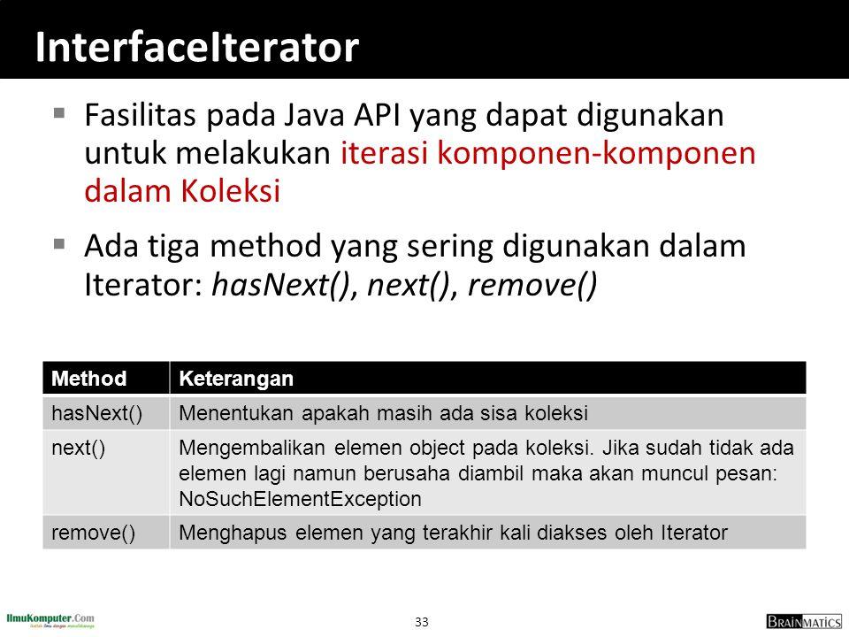 InterfaceIterator Fasilitas pada Java API yang dapat digunakan untuk melakukan iterasi komponen-komponen dalam Koleksi.