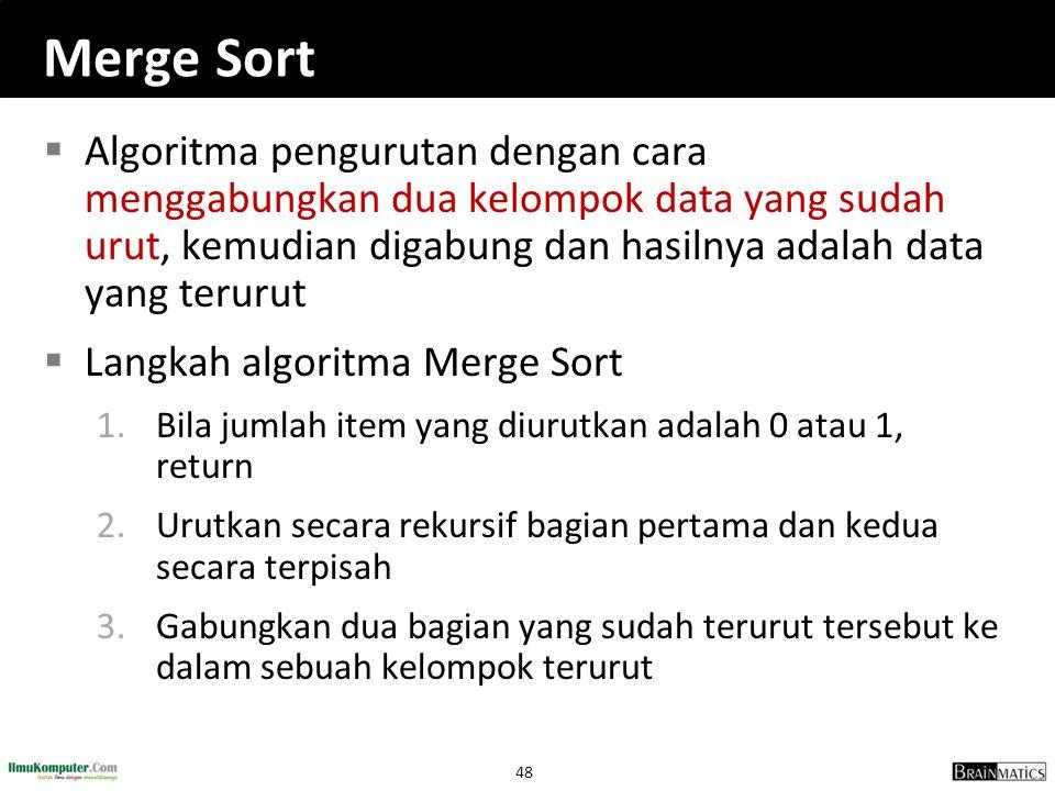Merge Sort Algoritma pengurutan dengan cara menggabungkan dua kelompok data yang sudah urut, kemudian digabung dan hasilnya adalah data yang terurut.