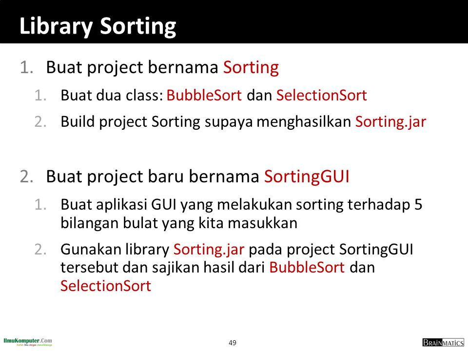 Library Sorting Buat project bernama Sorting