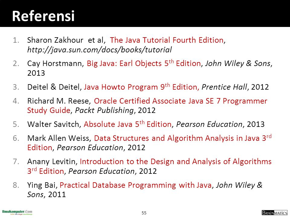 Referensi Sharon Zakhour et al, The Java Tutorial Fourth Edition, http://java.sun.com/docs/books/tutorial.