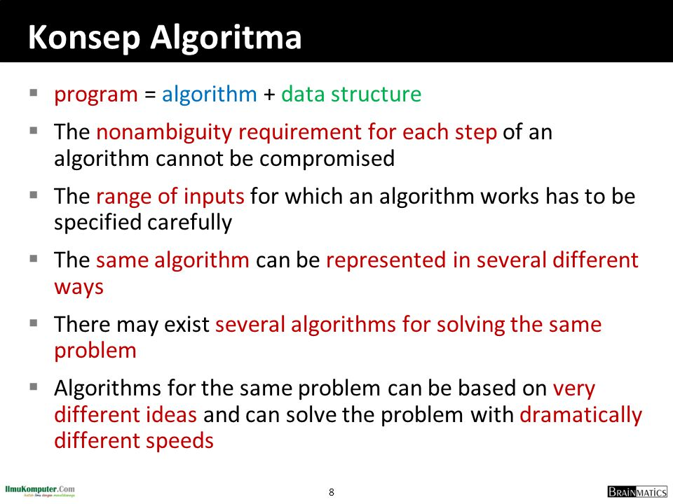 Konsep Algoritma program = algorithm + data structure