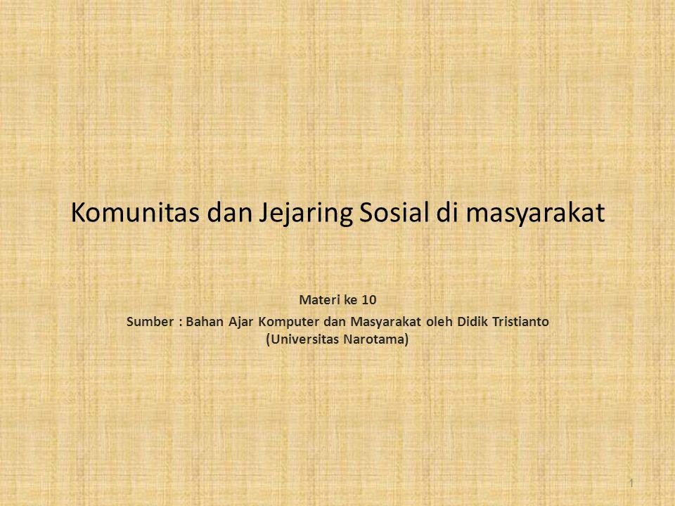 Komunitas dan Jejaring Sosial di masyarakat