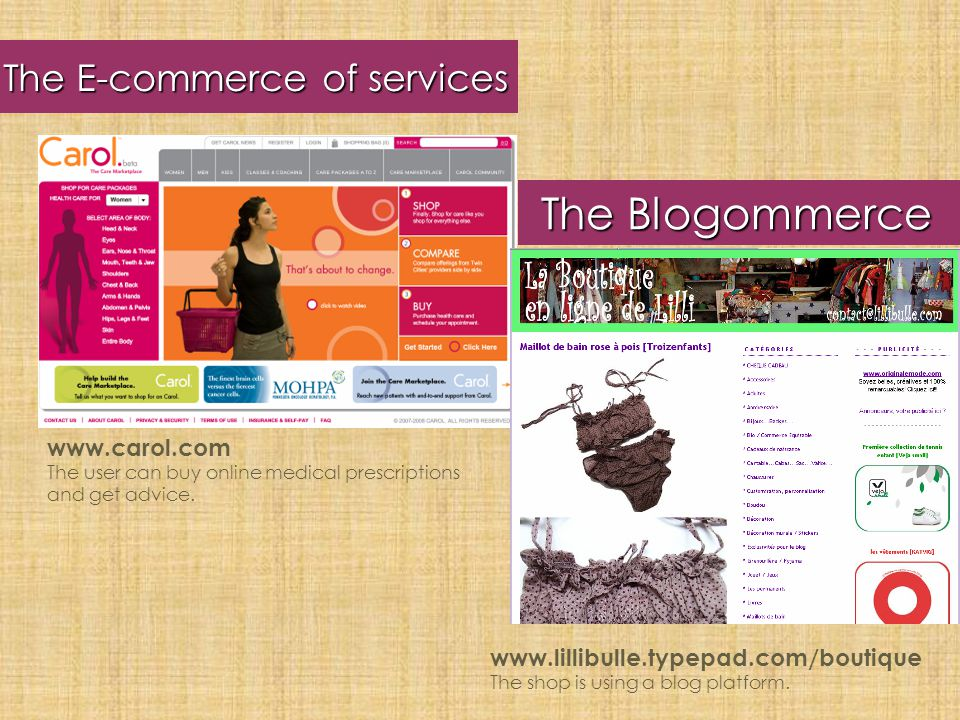 The Blogommerce The E-commerce of services www.carol.com