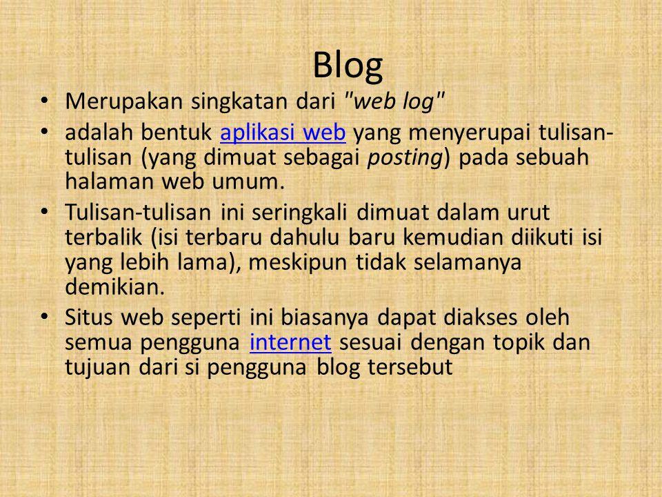 Blog Merupakan singkatan dari web log
