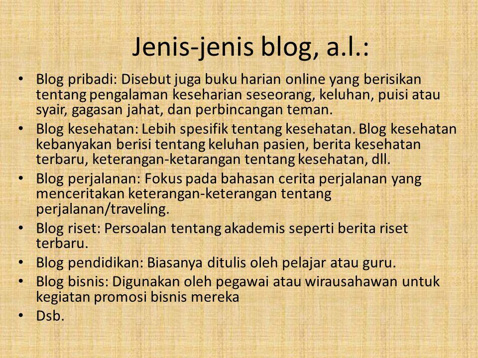 Jenis-jenis blog, a.l.: