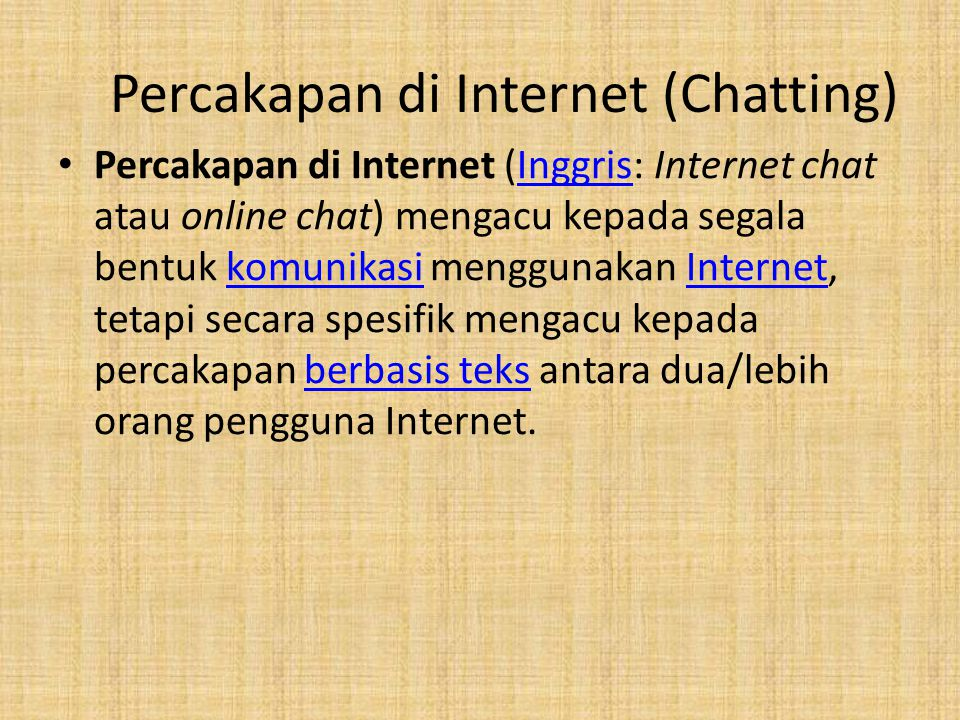 Percakapan di Internet (Chatting)
