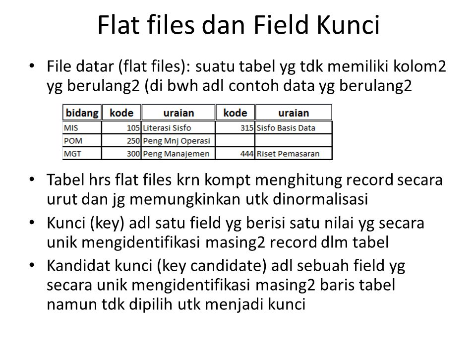 Flat files dan Field Kunci
