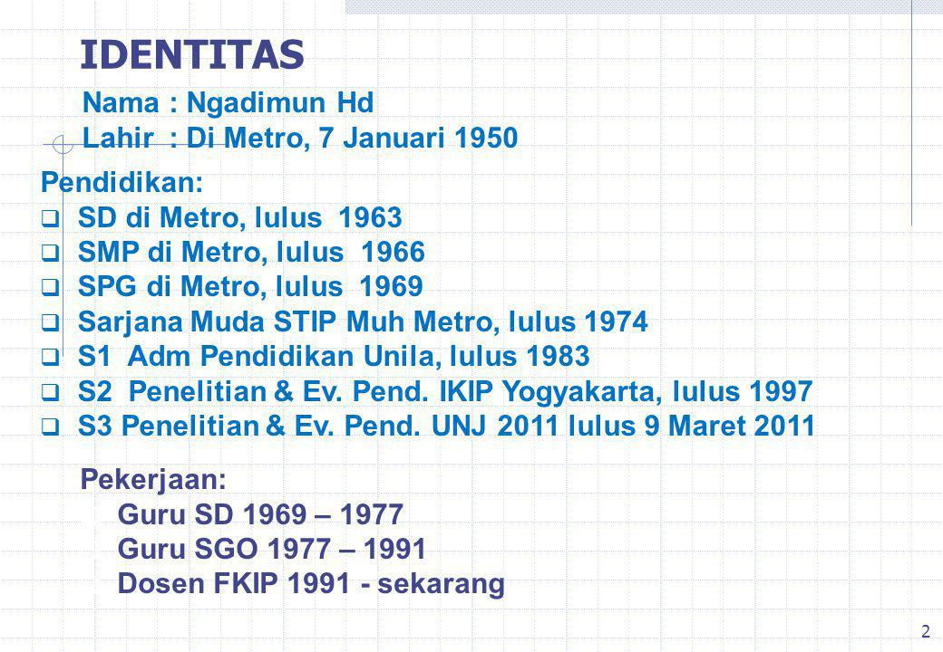 IDENTITAS Nama : Ngadimun Hd Lahir : Di Metro, 7 Januari 1950
