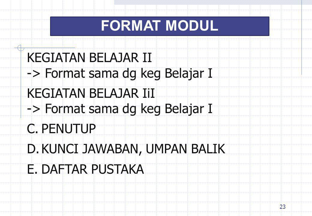 FORMAT MODUL KEGIATAN BELAJAR II -> Format sama dg keg Belajar I