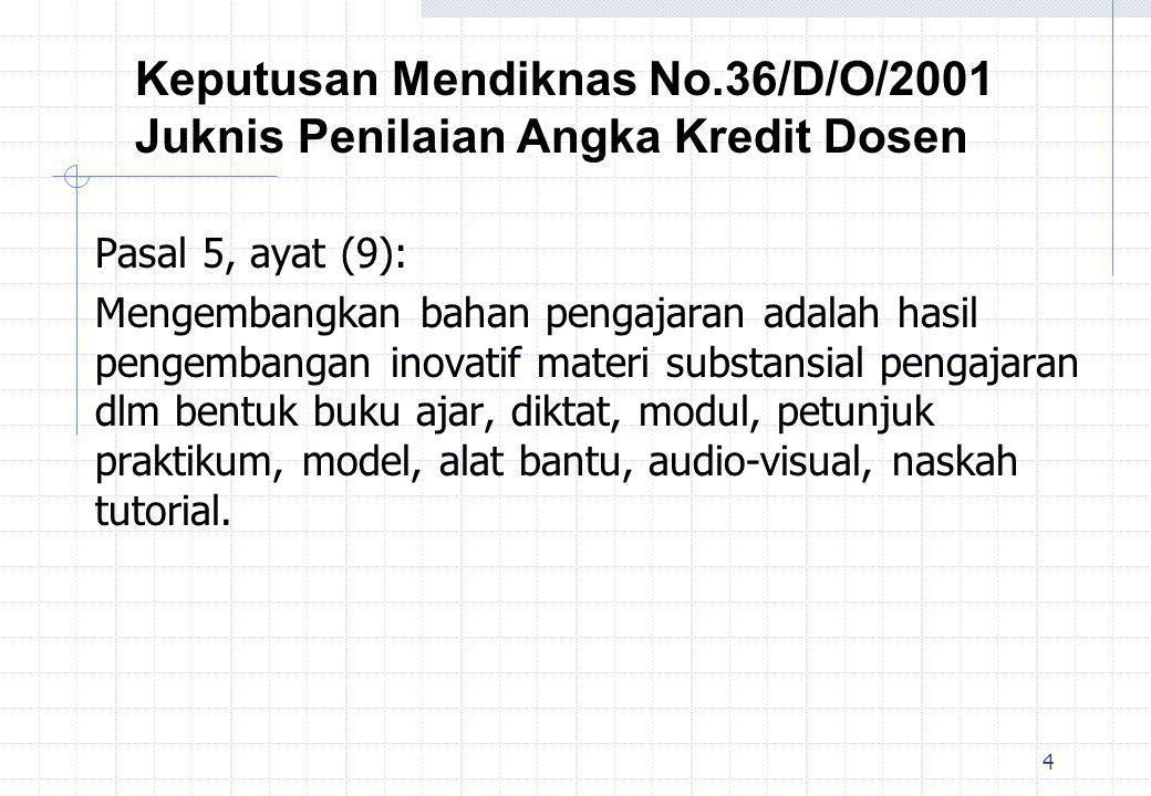 Keputusan Mendiknas No.36/D/O/2001 Juknis Penilaian Angka Kredit Dosen