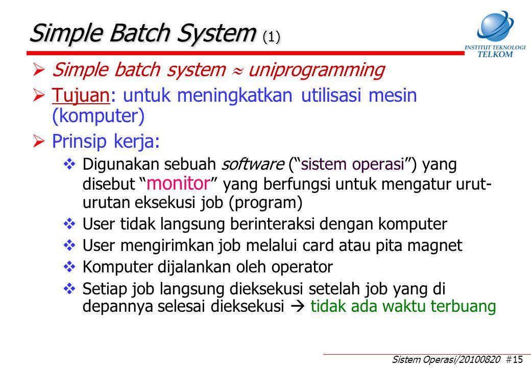 Simple Batch System (2) Monitor di-load di lokasi memori tertentu