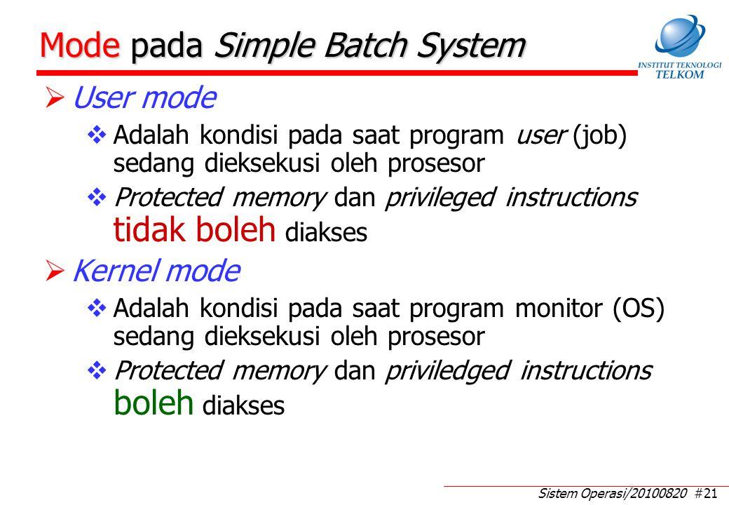Kekurangan Simple Batch System