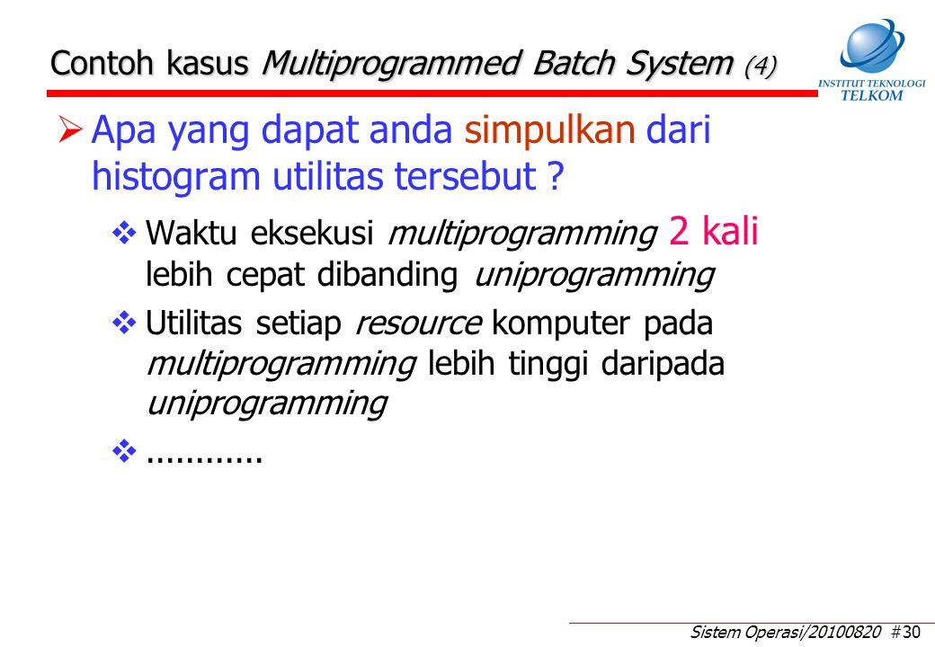 Time Sharing System (1) Time sharing system  interactive mode  multi user. Time sharing system adalah: