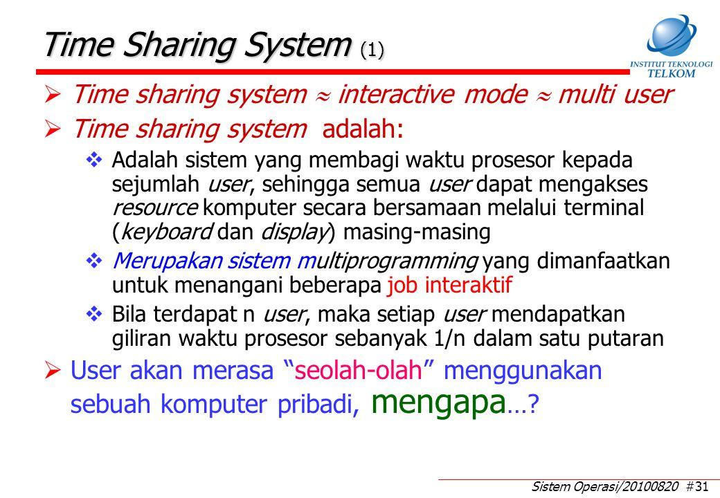 Time Sharing System (2) Mengapa timbul gagasan untuk membuat sistem model time sharing