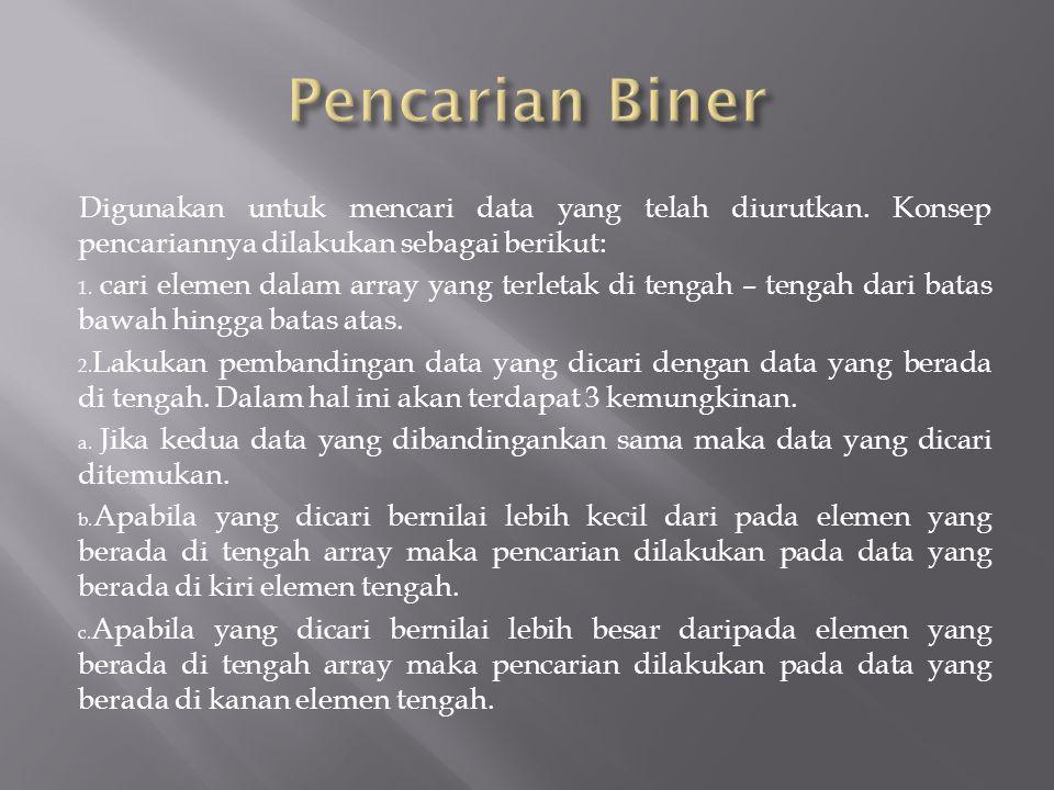 Pencarian Biner Digunakan untuk mencari data yang telah diurutkan. Konsep pencariannya dilakukan sebagai berikut: