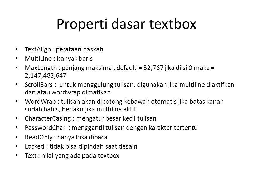 Properti dasar textbox