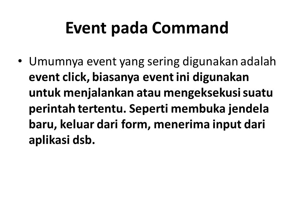 Event pada Command
