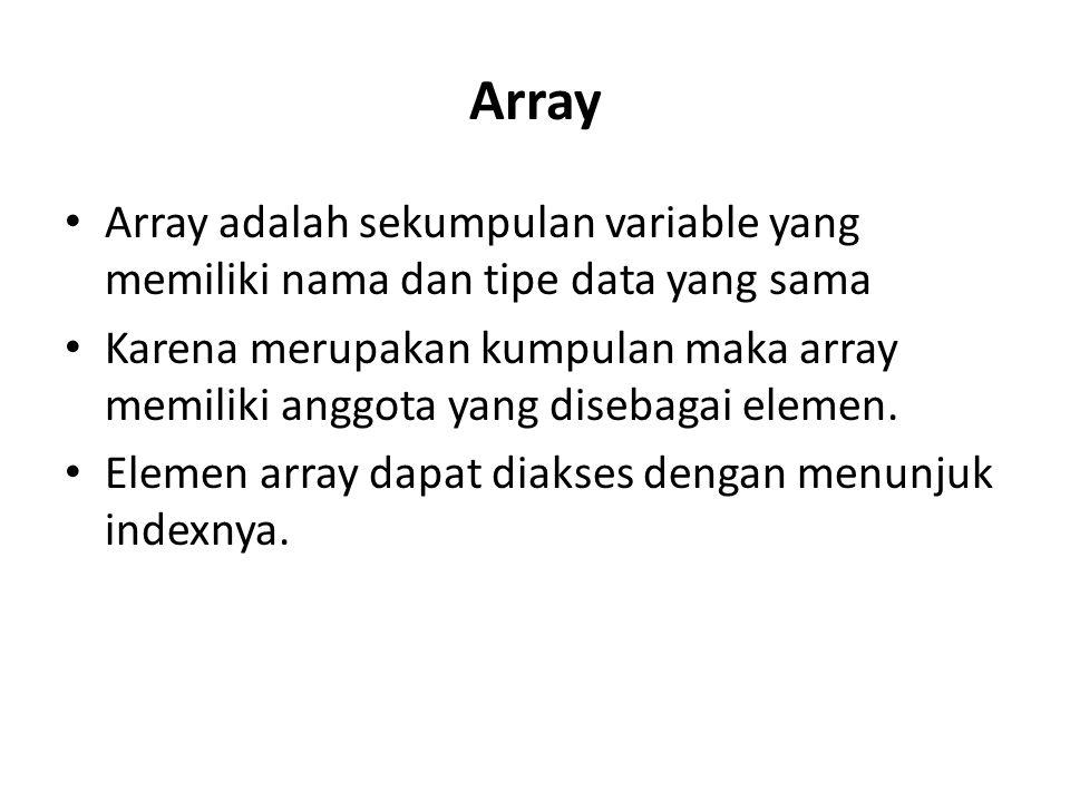 Array Array adalah sekumpulan variable yang memiliki nama dan tipe data yang sama.