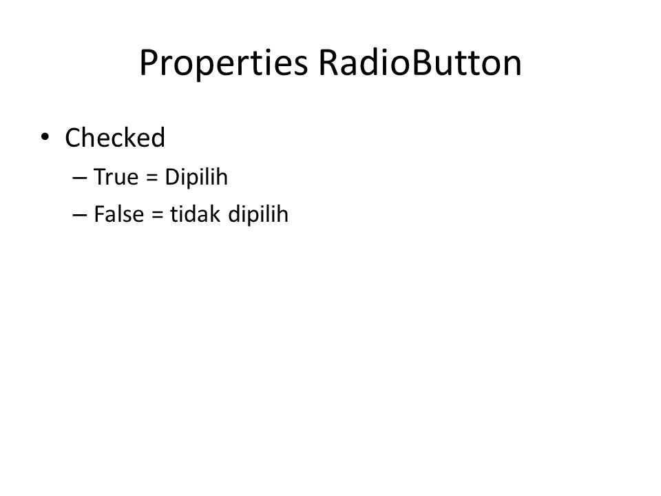 Properties RadioButton
