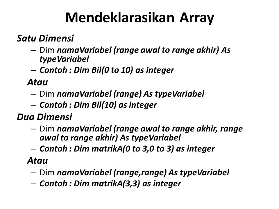 Mendeklarasikan Array