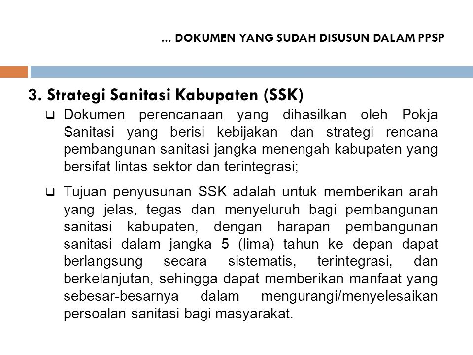 3. Strategi Sanitasi Kabupaten (SSK)