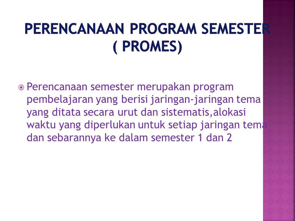 Perencanaan Program Semester ( PROMES)