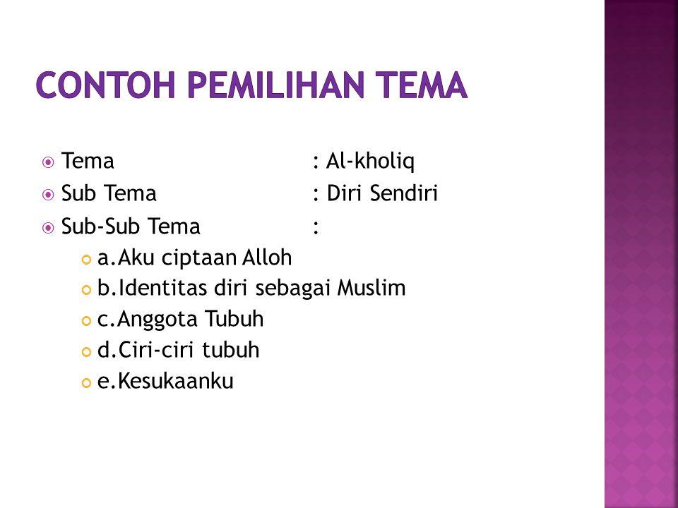 Contoh pemilihan tema Tema : Al-kholiq Sub Tema : Diri Sendiri