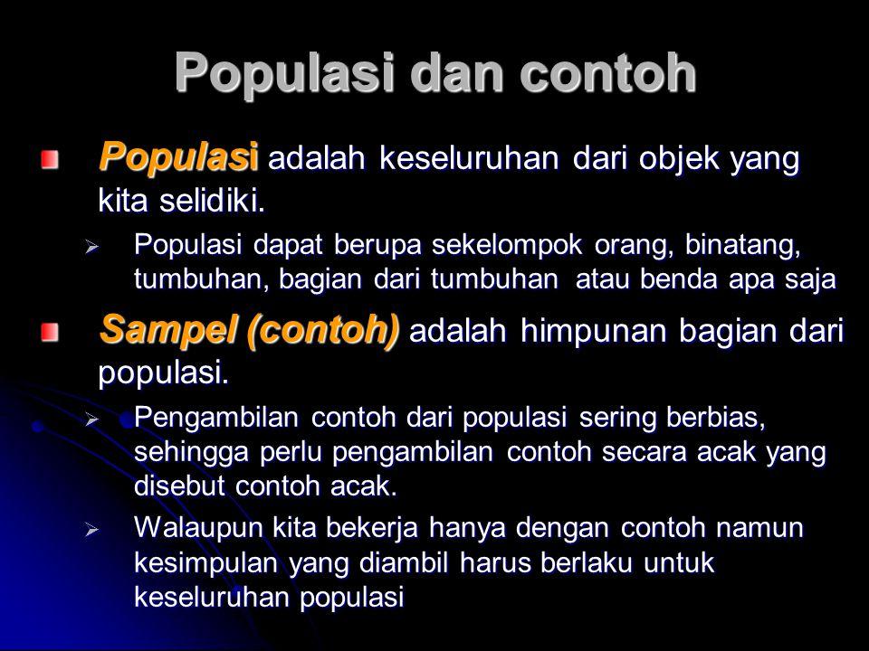 Populasi dan contoh Populasi adalah keseluruhan dari objek yang kita selidiki.