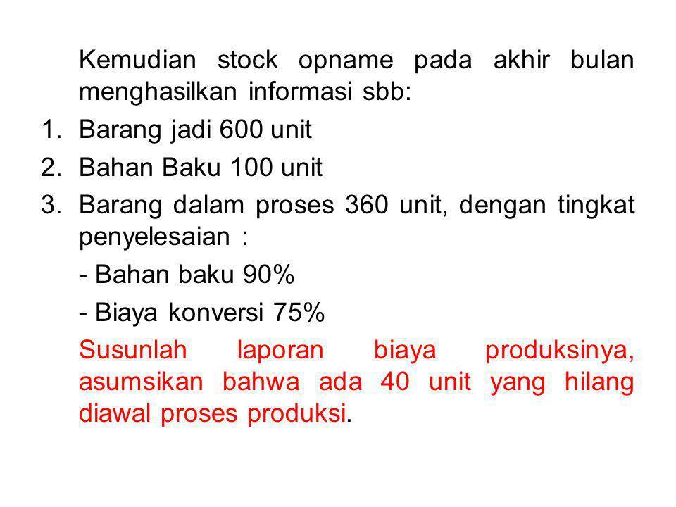 Kemudian stock opname pada akhir bulan menghasilkan informasi sbb: