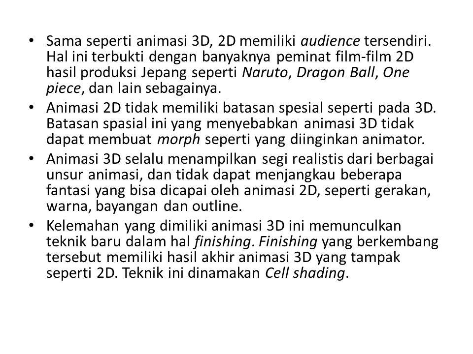 Sama seperti animasi 3D, 2D memiliki audience tersendiri
