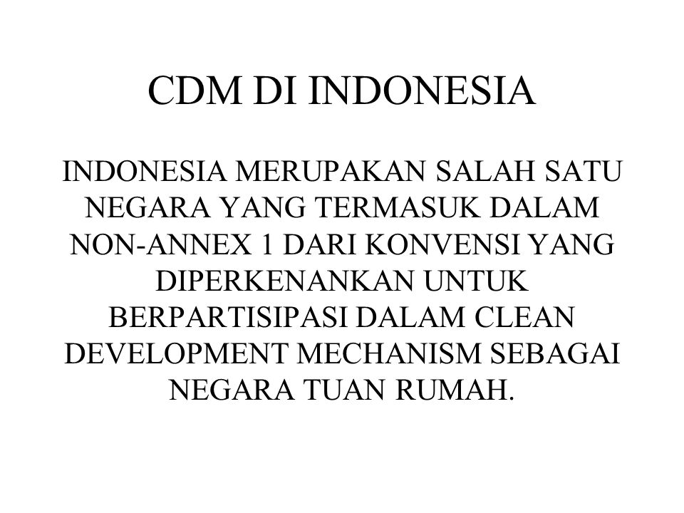 CDM DI INDONESIA