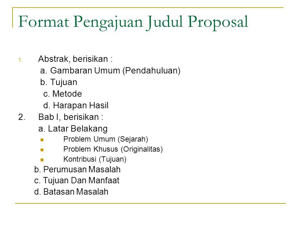 Format Pengajuan Judul Proposal
