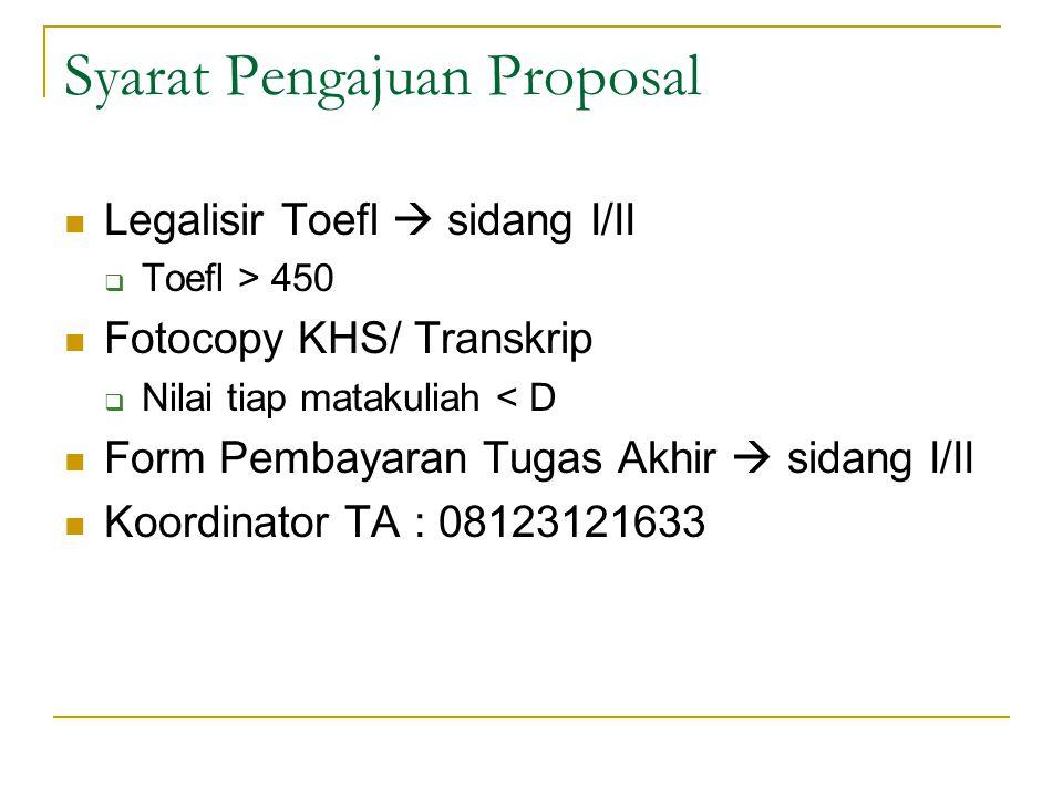 Syarat Pengajuan Proposal