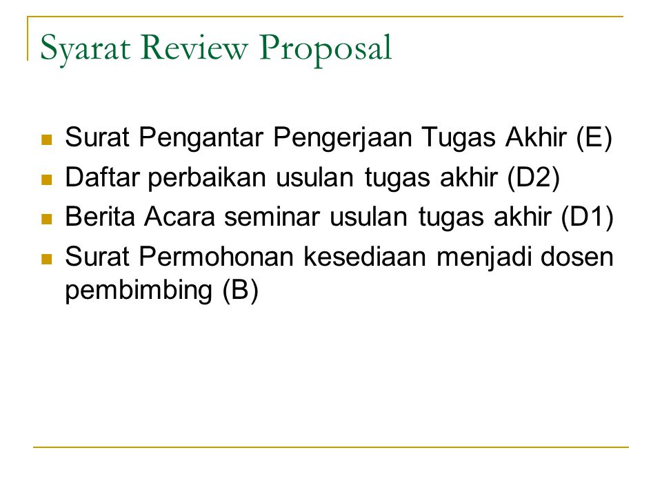 Syarat Review Proposal