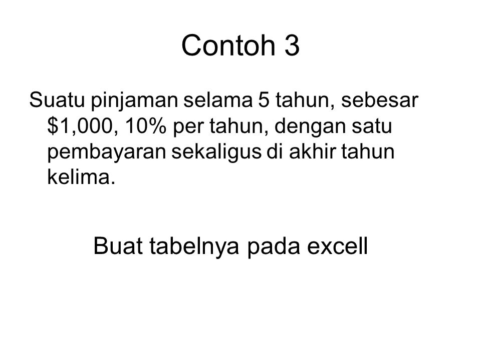 Contoh 3 Buat tabelnya pada excell