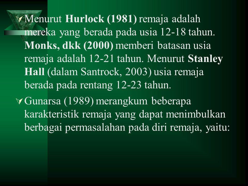 Menurut Hurlock (1981) remaja adalah mereka yang berada pada usia 12-18 tahun. Monks, dkk (2000) memberi batasan usia remaja adalah 12-21 tahun. Menurut Stanley Hall (dalam Santrock, 2003) usia remaja berada pada rentang 12-23 tahun.