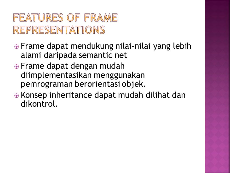 Features of Frame Representations