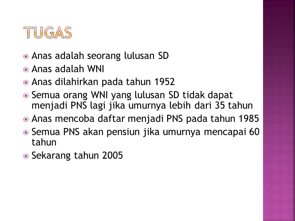 Tugas Anas adalah seorang lulusan SD Anas adalah WNI