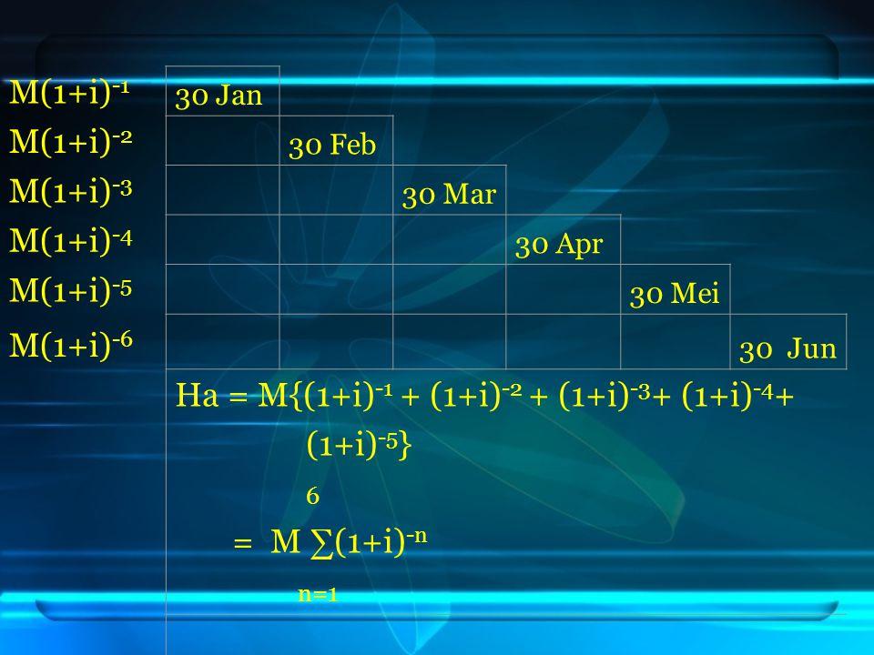 Ha = M{(1+i)-1 + (1+i)-2 + (1+i)-3+ (1+i)-4+ (1+i)-5} 6 = M ∑(1+i)-n