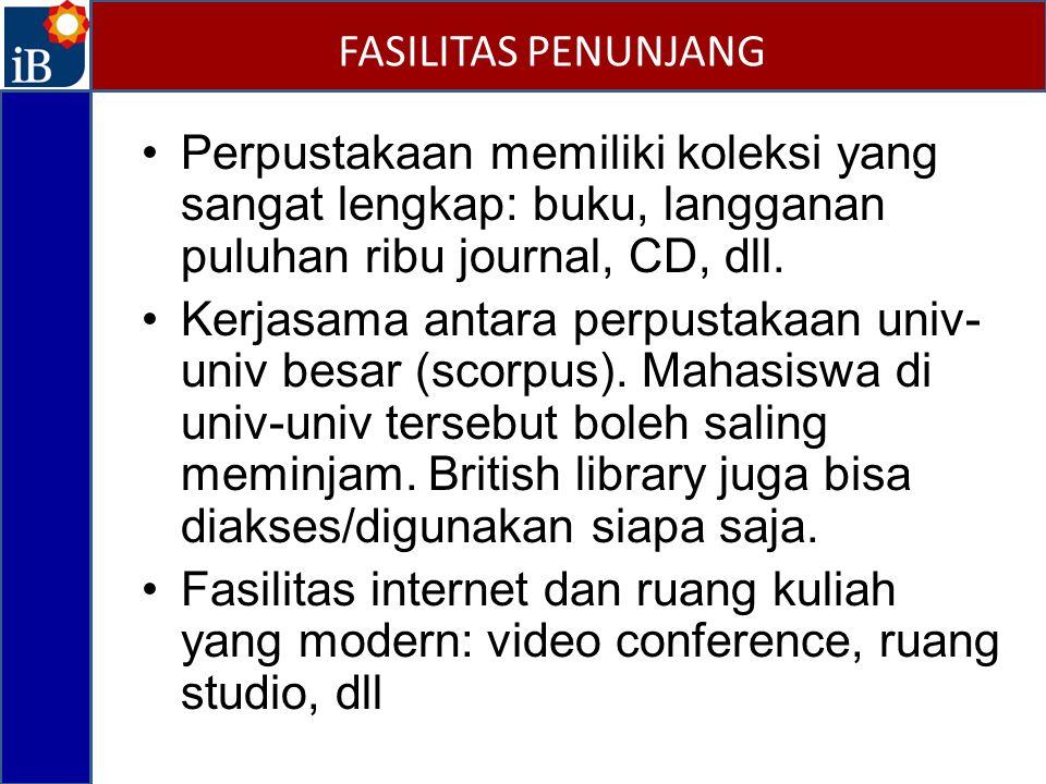 FASILITAS PENUNJANG Perpustakaan memiliki koleksi yang sangat lengkap: buku, langganan puluhan ribu journal, CD, dll.