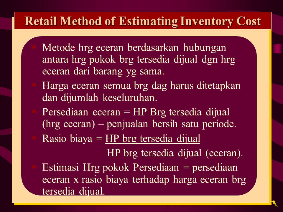 Retail Method of Estimating Inventory Cost