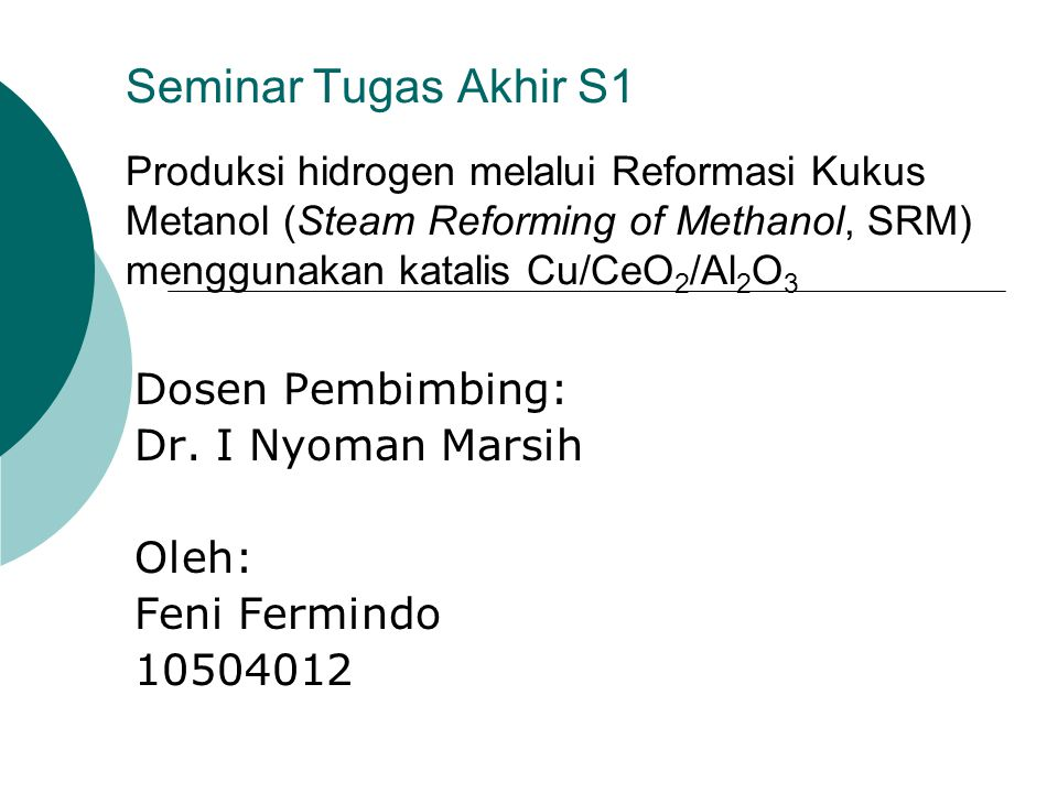 Dosen Pembimbing: Dr. I Nyoman Marsih Oleh: Feni Fermindo 10504012