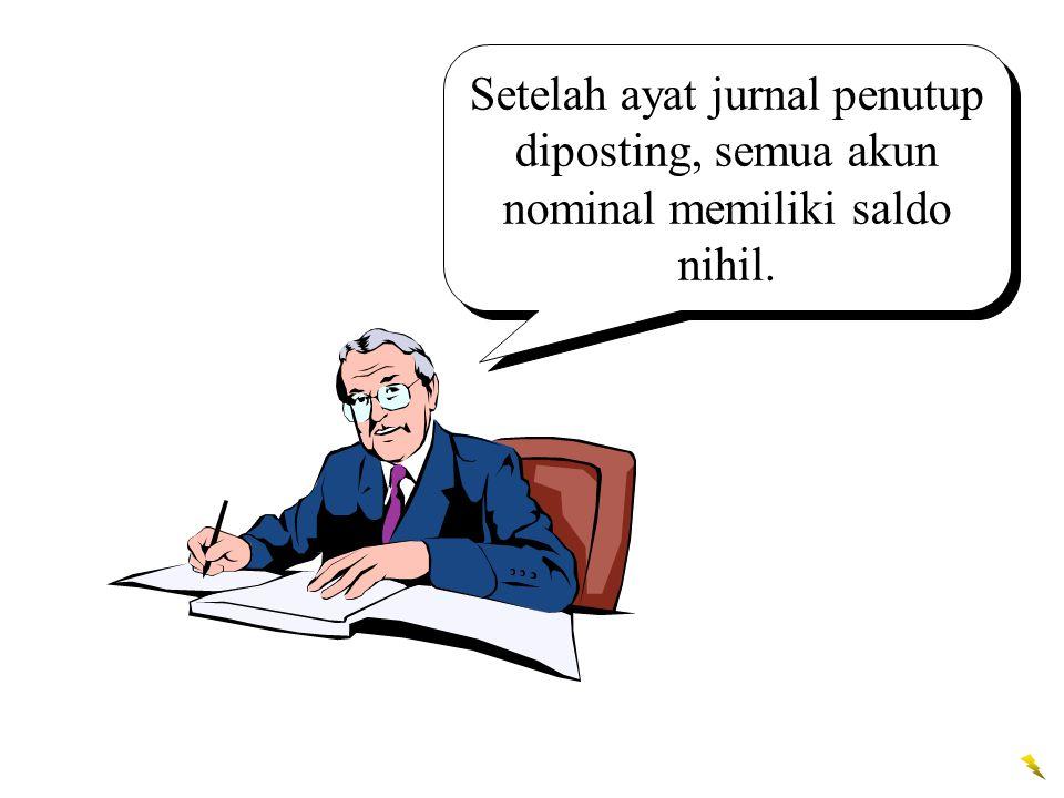 Setelah ayat jurnal penutup diposting, semua akun nominal memiliki saldo nihil.