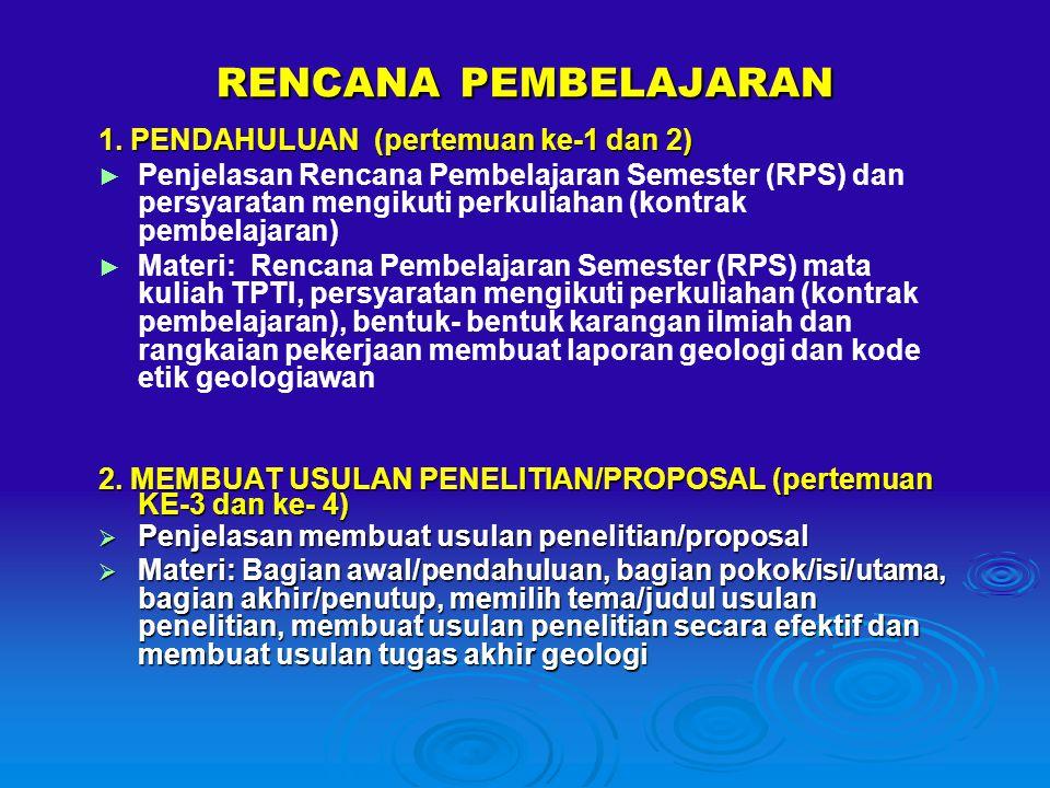 RENCANA PEMBELAJARAN 1. PENDAHULUAN (pertemuan ke-1 dan 2)