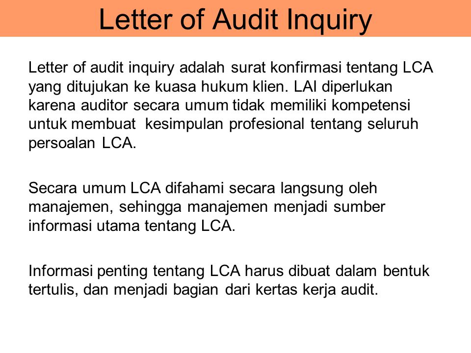 Letter of Audit Inquiry