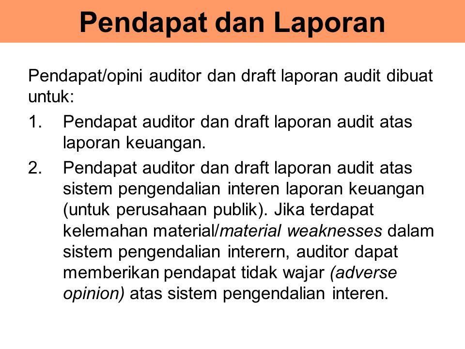Pendapat dan Laporan Pendapat/opini auditor dan draft laporan audit dibuat untuk: Pendapat auditor dan draft laporan audit atas laporan keuangan.