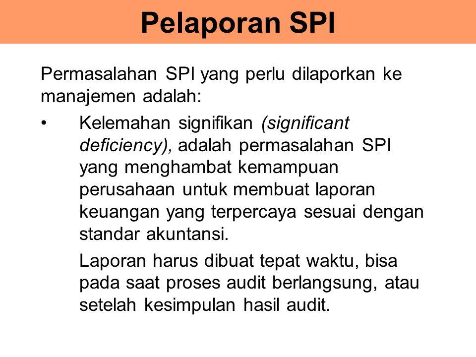 Pelaporan SPI Permasalahan SPI yang perlu dilaporkan ke manajemen adalah: