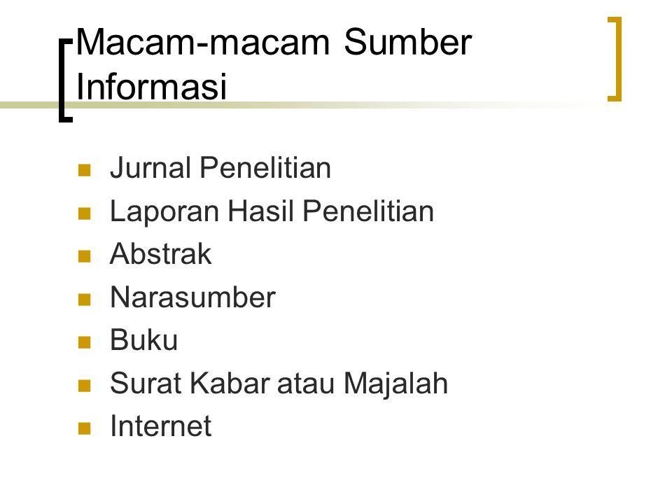 Macam-macam Sumber Informasi